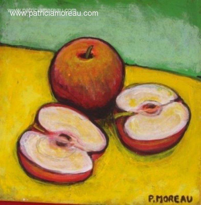 Nature morte 3 pommes