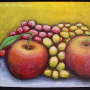 Nature morte  2 pommes et raisins