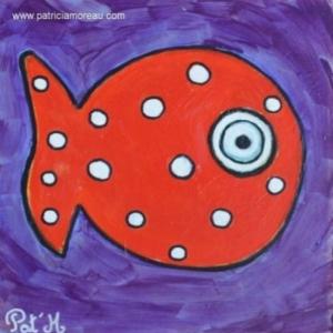 e poisson rouge sur fond violet 20x20