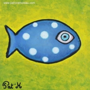 Blue Fish on yellow sea