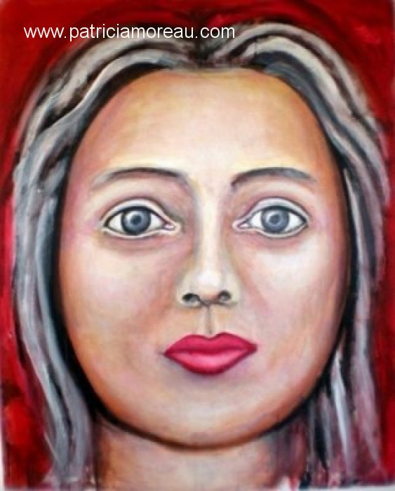 patricia moreau portrait Femme sur fond rouge grand format
