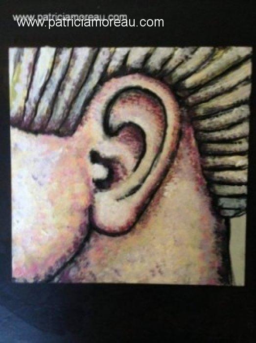 Patricia moreau portrait peinture d oreille 15x15