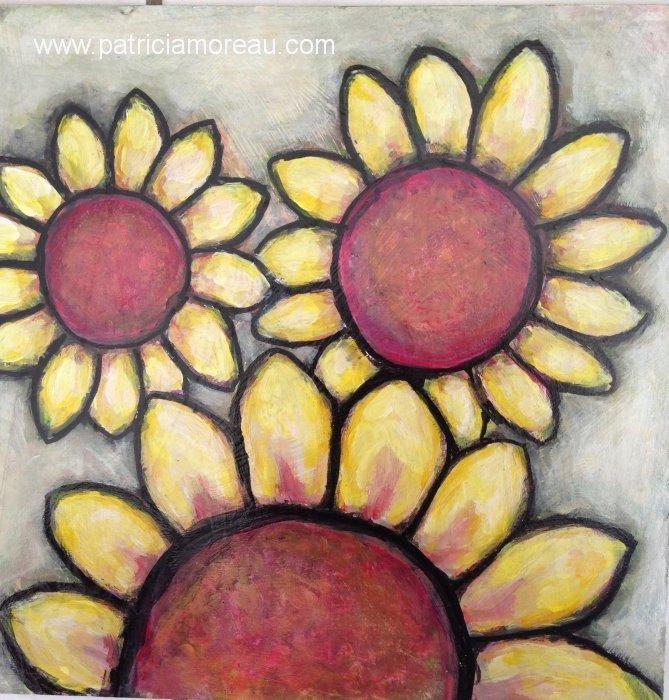 Fleurs les trois tournesols