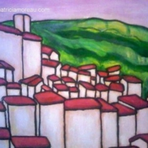 Painting of Bar sur Loup and pic des courmettes