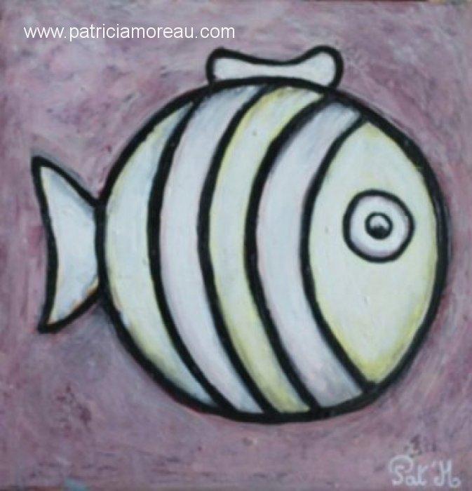 Le poisson blanc lune sur fond violet