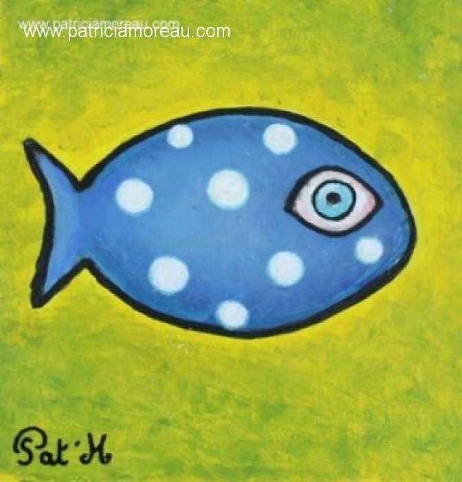 Blue Fish on yellow sea