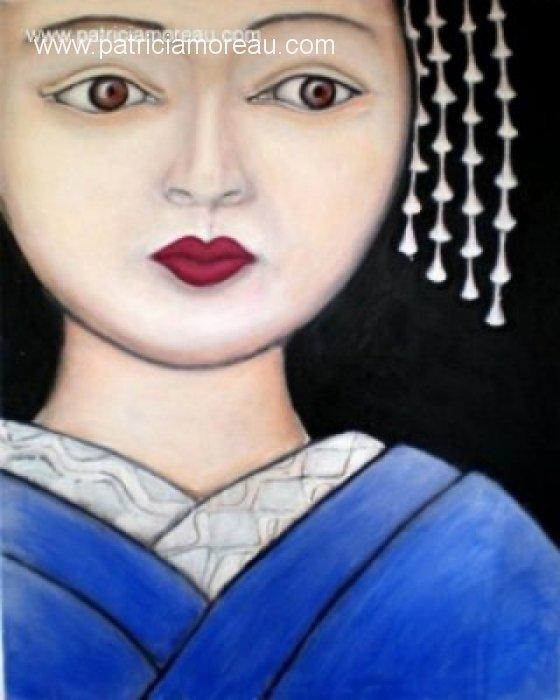 patricia moreau portrait Geisha en kimono bleu