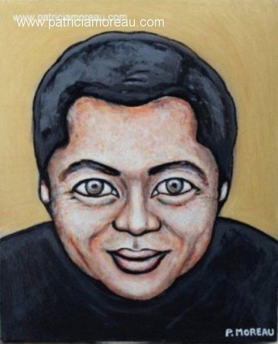 Patricia moreau portrait peinture acrylique Eric