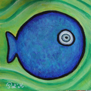 Blue fish painting for kids