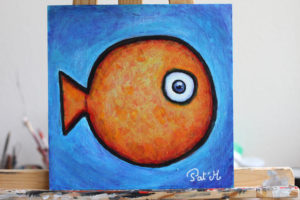 Orange fish artwork