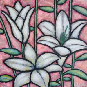 Lily flowers painting